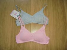 M&S 2 PACK MARKS & SPENCER ANGEL GIRL'S PINK MIX NON-WIRED BRA'S UK SIZE 28AA