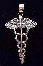 Caduceo sumerio Anunnaki pendant wings silver plata ley 925 ml  snakes
