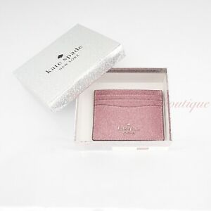 NWT Kate Spade WLR00214 Boxed Small Slim Card Case Holder Lola Glitter Rose Pink