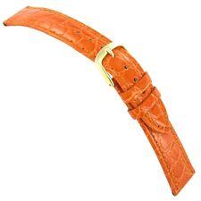 18mm Hadley-Roma Genuine Leather Crocodile Grain Orange Watch Band MS717