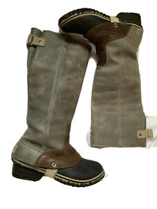 Sorel Slimpack II Womens Size 7.5 Tall Gray/Brown Leather Riding Boots Scuffing