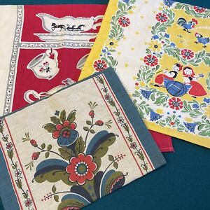 Vintage Kitchen Tea Towels Lot of 3 Need TLC Launderer Red Blue Yellow Rooster