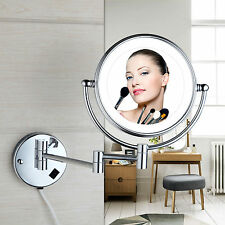 Silver Wall Mount LED Beauty 3X Magnifying Foldable Cosmetic / Makeup Mirrors