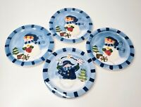 "Set of 4 Snowman Salad Dessert Snack Plates 7 1/2"" Winter Christmas Party Dishes"