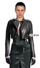 Women&Girls 100% Genuine Leather Short Jacket Cropped Bolero Style Biker Jacket