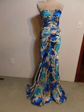 Cache Gorgeous Blue Multi Strapless Broach Bodice Mermaid Stretch Maxi Gown   8