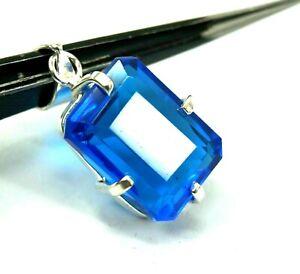 30.25 Ct EGL Certified Natural Blue Topaz Pendant 925 Sterling Silver Gems HGS7