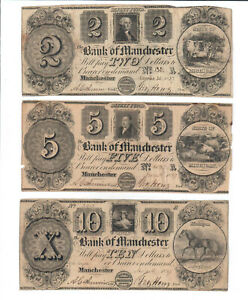 $2, $5, and $10 Bank of Manchester Notes
