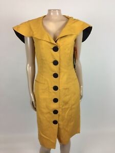 Vintage 80's 90s Tahari Womens Dress Career Yellow Gold Party Designer NOS A3-18