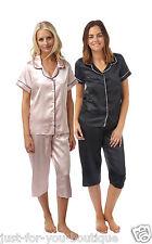 Satin Silky Shiny PJs Pyjama Pajama Jammies Set Soft Button Up Nightshirt