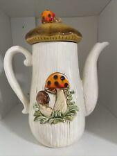 Vintage Merry mushroom Teapot and Lid Ceramic 1970's Retro Sears Tea Pot