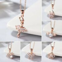 Fashion Women Love Dance Girl Flower Crystal Pendant Necklace Jewelry Wedding