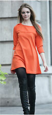 Women's Slash Neck Swing Blouse/Top/ Dress size:10 Orange