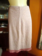 """Small 24W 24"""" True Vtg 70s Heather Brown Ringer Stretch Knit Mid Skirt"""