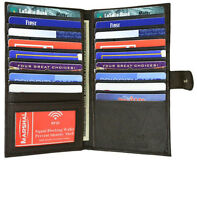 Black RFID Blocking Leather Bifold 19 Card ID Checkbook Holder Long Wallet