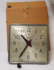 "VINTAGE SIMPLEX 12.5"" SLAVE WALL CLOCK 24 HR DISPLAY SECOND HAND ALUMINUM FRAME"