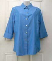 Foxcroft Button Down Shirt Size 16 Womens Blue Blouse Long Sleeve Top