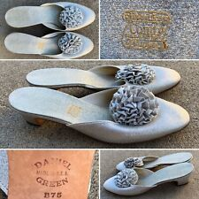 Vintage Daniel Green Comfy Slippers Shoes Boudoir Silver Made In Usa B75 (7.5 B)