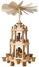 "BRUBAKER Wooden Christmas Pyramid 45cm (18"") Windmill Carousel German Style"