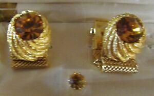 Vintage Swank Yellow Stone Gold Tone Mesh Wraparound Cuff Links & Tie Tack