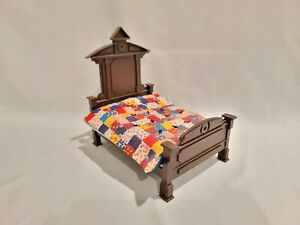 Vintage Hand Made Wood Dollhouse Bed