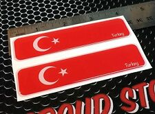 "Turkey Flag Türkiye Proud Domed Decal Car Emblem Flex 3D 4""x1"" Set of 2 Stickers"