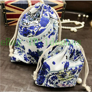 """12PCS Cotton linen blends Blue and White Jewelry Drawstring Bags Pouches 5.5""""x4"""""""