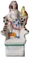 Antique Staffordshire Boy/Young Man Holding a Parrot Bird Figurine Brocage Chair