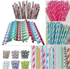 25 PAPER STRAWS Biodegradable Party WEDDING Tableware stripe drinking polka