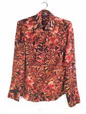 VTG Ellen Tracy TEMU7609 Silk Fall Foliage Print Long Sleeve Top Blouse Size 12