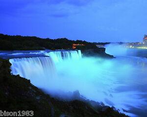 11x14 photo Niagara Falls Buffalo New York at Night landscape glowing photofile