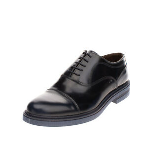 Leather Oxford Shoes Size 43 UK 9 US 10 Patent Panel Round Toe Made in Italy