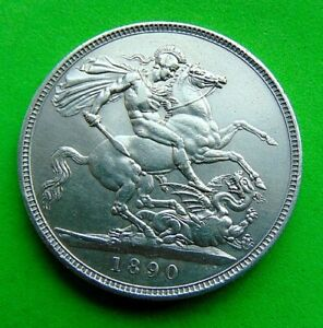A  SUPERB  VICTORIA  *1890*  SILVER  CROWN  5/- ...LUCIDO_8  COINS