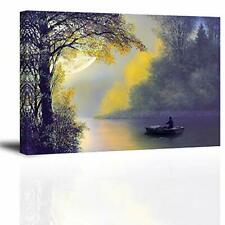 Moon Wall Art for Living Room, SZ Relaxing 24x36 Yellow & Blue Moon Boat Forest