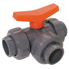 "BVT13-112-PVC, 1.1/2"" ID UPVC BALL VALVE T-PORT 3-WAY, Comer UPVC & ABS Tubes &"