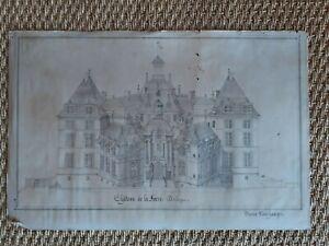 rare dessin ancien 19ème relevé château de la Force en Dordogne