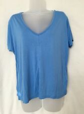 Ladies Women Girls Light Blue Cap Sleeve V Neck Loose Fit Top Size 12 New