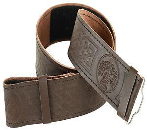 Braune Keltisch Geprägtes Leder Kilt Gürtel Verstellbar Größe Für Highland Kleid