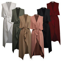 Womens Ladies Maxi SLEEVELESS Waterfall Belted Duster Coat/ Jacket ••