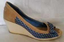 Bc Footwear Womens 9 Med Peep Toe Wedge Heels Shoes Blue White Tan Polka Dot Bow
