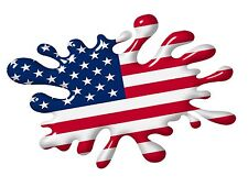 3D Printed Effect Retro SPLAT American Stars & Stripes US Flag vinyl car sticker