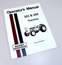 Massey Ferguson Mf 203 205 Tractor Owners Operators Manual Book Maintenance