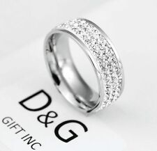 New DG Gift Inc Unisex Stainless Steel CZ Eternity Engagement Ring Size 9 + Box
