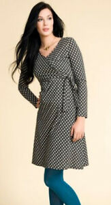 Grey polka nursing dress - Boob Nursing tieband dress - XL / UK16