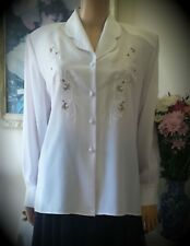 Vintage Blouse White Lapell Collared Long Sleeves Office Embroidery Long 18