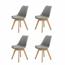 Set of 4 Tulip Style Dining Chair Office/Kitchen chairs With Padded Seat Grey
