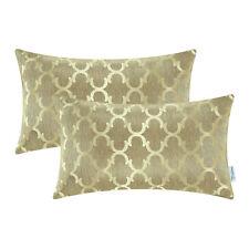 "2PCS Rectangle Pillows Shell Cushion Cover Quatrefoil Accent 12""x20"" Gold"