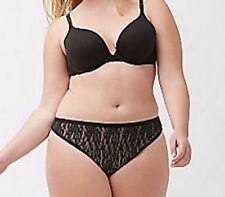 LANE BRYANT CACIQUE Black Allover Lace Over Nude Thong 22-24 Nylon Blend