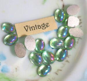 8x6mm Vintage AB Peridot Ovals Rhinestones Cottage Flat Back silver Foil #479P
