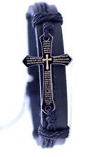 Goth style stainless steel Lord's prayer cross charm hemp leather bracelet